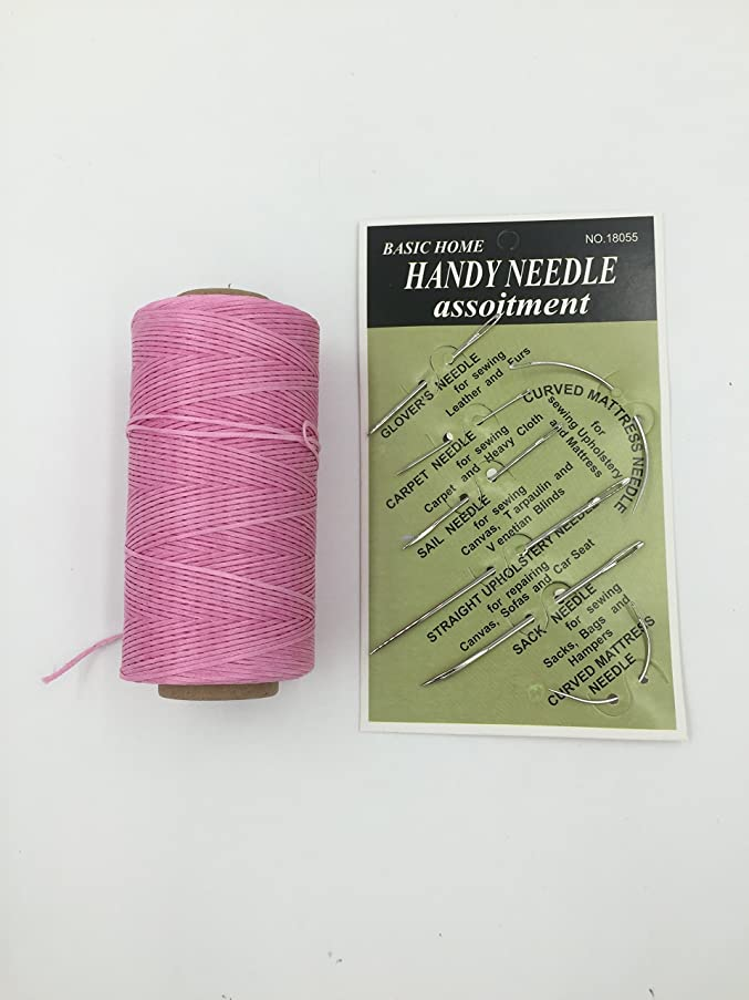 Pink Strong Waxed Hand Sewing Thread for Leather/Canvas & 1 Set Needles