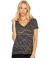 Three Dots - Squiggle Burnout Short Sleeve V-Neck Tee
