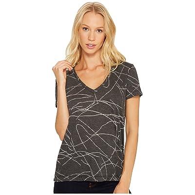 Three Dots Squiggle Burnout Short Sleeve V-Neck Tee (Black) Women