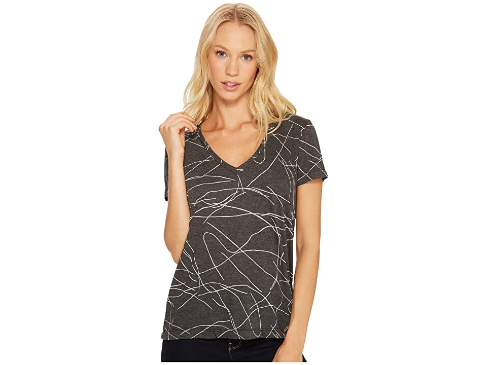 Three Dots Squiggle Burnout Short Sleeve V-Neck Tee (Black) Women