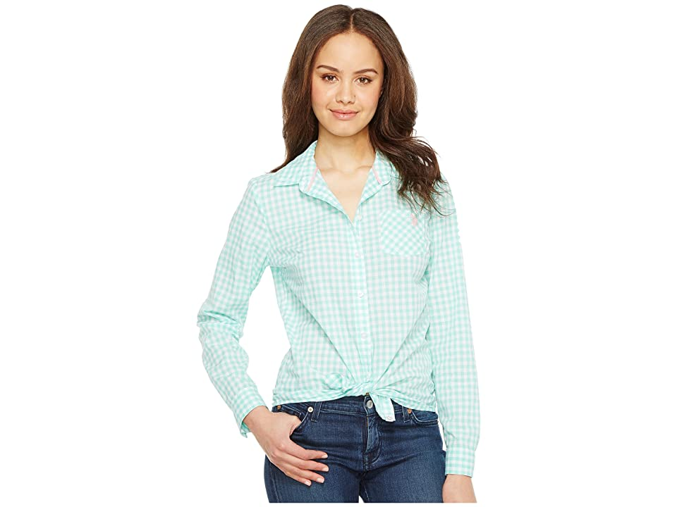 U.S. POLO ASSN. Long Sleeve Gingham Woven Shirt (Palawan Aqua) Women's Clothing