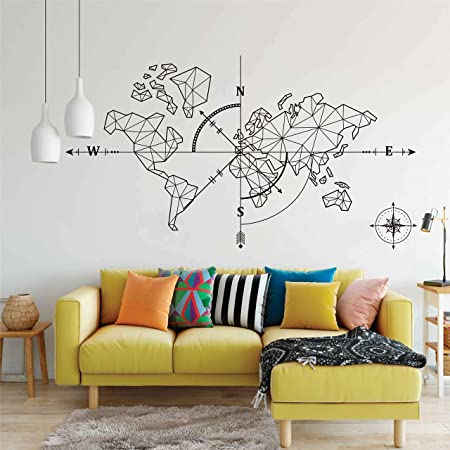 Letters World Map Wall Sticker Creative Wall Decal Waterproof Home Decoration GN
