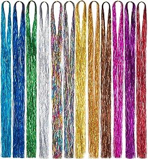 Color Strip Hair Extensions,Hair Tinsel Strands Kit 44 Inches 12 Colors Tinsel Hair Extensions 3300 Strands Fairy Hair Kit...