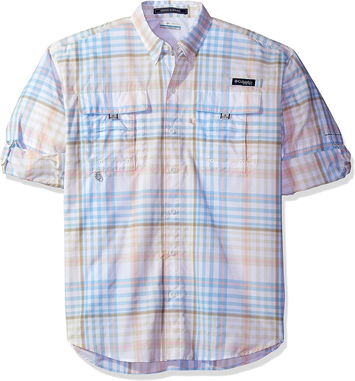 Columbia Men's Super Bahama Long Sleeve Shirt, Sail Multi Check, Small