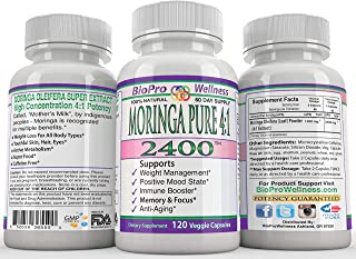 Moringa Oleifera 4:1 Extract Focus Brain Mood Weight Management Memory Max Strength Pure 2400mg Whole Super Food Plus Immune Boost Anti Aging Diet Supplement Senior Organic Tree Leaf Powder Pill 120ct