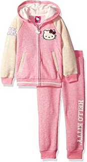 Hello Kitty Little Girls' 2 Piece Hooded Fleece Active Clothing Set, White Hoodie Outfit, Clothes for Little Girls