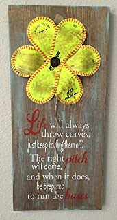Softball Flower Sign, Life Will Always Throw Curves, Baseball/Softball Sign Decor, Inspirational Quote, Baseball Softball Flower Yellow Softball
