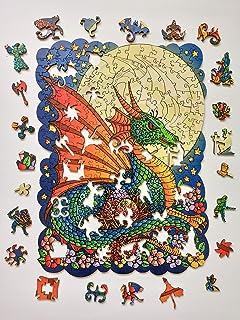 Sparrow Puzzles 木製ジグソーパズル - 大人と子供に最高のギフト - ムーンドラゴン - 11.4x15.4インチ - 320ピース - XLサイズ