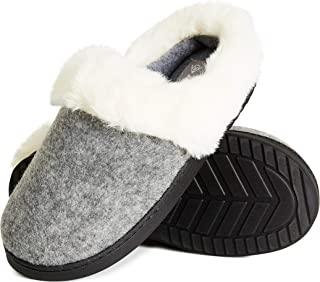 Dunlop Ladies Slippers, Memory Foam Womens Slippers, Super Soft Fluffy Slippers, Indoor Outdoor Anti Slip House Shoes, Gif...