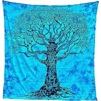Tapiz Mandala 100% Algodón de la India con 210X240 cm Tapices Indios de Decoración Múltiples Aplicaciones: Cubrecama, Cubre sofá, Mantel, Pareo, Foulard, Picnic, Toalla Playa (Árbol, Azul/Negro): Amazon.es: Hogar