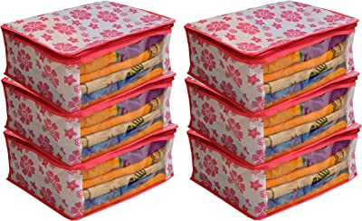 Kuber Industries Non Woven Saree Cover Pink Floral Design Set of 6 Pcs (Regular Size)
