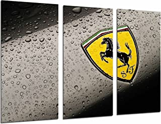 Cuadros Camara Multi Wood Printings Art Print Box Framed Picture Wall Hanging - (Total Size: 38 x 24.4 in), Logo Yellow Ferrari, Car, Brand - Framed and Ready to Hang - ref. 26838