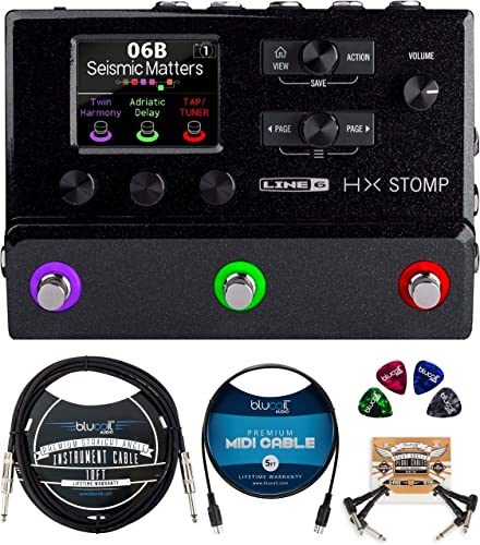 lowest Line6 HX Stomp Multi-Effects Guitar Pedal (Black) Bundle with Blucoil 10-FT Straight Instrument Cable (1/4in), online sale sale 5-FT MIDI Cable, 2-Pack of Pedal Patch Cables, and 4-Pack of Celluloid Guitar Picks outlet sale