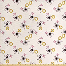 Lunarable Alice in Wonderland Fabric by The Yard, White Rabbit Dancing in The Sky Fantasy World and Alice Theme, Decorative Fabric for Upholstery and Home Accents, 1 Yard, Yellow Black