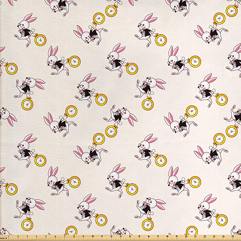 Lunarable Alice in Wonderland Fabric by The Yard, White Rabbit Dancing in The Sky Fantasy World and Alice Theme, Decorative Fabric for Upholstery and Home Accents, 1 Yard, Pink Black Yellow