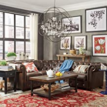 Inspire Q Knightsbridge Tufted Scroll Arm Csterfield 5-seat L-Shaped Sectional by Artisan Brown Bonded Leather