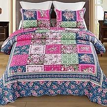 Royal Comforter Set, Floral Cotton Patchwork Bedspread Sets Quilt Throw Blanket for Queen Size Bed