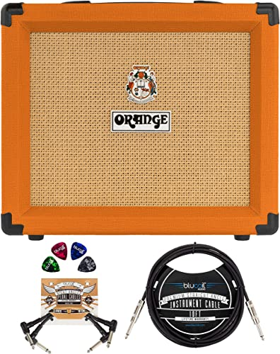 2021 Orange Amps Crush 20RT Amplifier for Electric Guitars (Orange) Bundle with Blucoil 10-FT Straight Instrument Cable new arrival (1/4in), 2-Pack discount of Pedal Patch Cables, and 4-Pack of Celluloid Guitar Picks sale