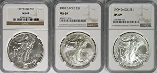 1997-1999 American Silver Eagle 3 Coin Set MS-69