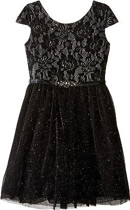 Short Sleeve Bonded Glitter Lace Dress w/ Tulle (Big Kids)