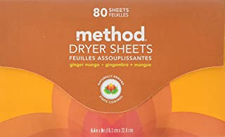 Method Dryer Sheets, Ginger Mango, 2 Pack - 80 Ct. Each (Total 160 Count)