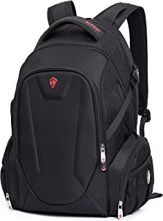 """Swiss Alpen - Blanc Backpack - Water Resistant Durable 1680D Large Laptop Backpack for Travel, School & Business - Fits 15.6"""" Laptop with USB Charging Port - Black Exclusive"""