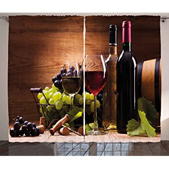 55 W X 39 L Inches Ambesonne Wine Kitchen Curtains Window Drapes 2 Panel Set For Kitchen