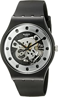 Unisex SUOZ147 Silver Glam Analog Display Quartz Black Watch