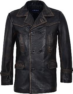Smart Range Men's Double Breasted DR WHO Black Vintage World War II Peek Real Napa Leather Coat Jacket