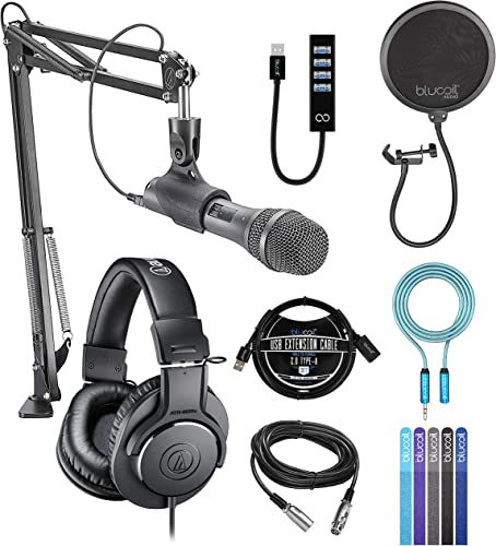 lowest Audio-Technica AT2005USBPK Streaming / Podcasting Pack for Windows and Mac Bundle with Blucoil USB Hub popular Type-A, Pop Filter, 3' USB Extension Cable, 6' 3.5mm Headphone Cable, and 5x Cable online Ties sale
