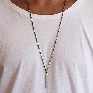 Carpe Diem Jewelry Mens Silver Rod Pendant Geometric Necklace Rustic Oxidized Cool Jewellery For Men