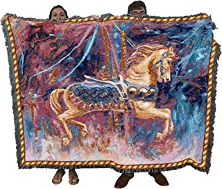 Pure Country Weavers | Carousel Horse Merry Go Round Woven Tapestry Throw Blanket with Fringe Cotton USA 72x54