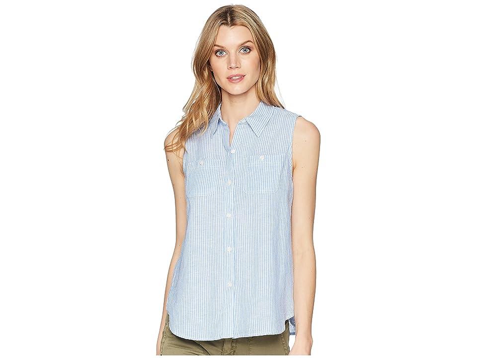 CHAPS Striped Linen-Blend Sleeveless Shirt (White/Blue/Harper Embroidery) Women