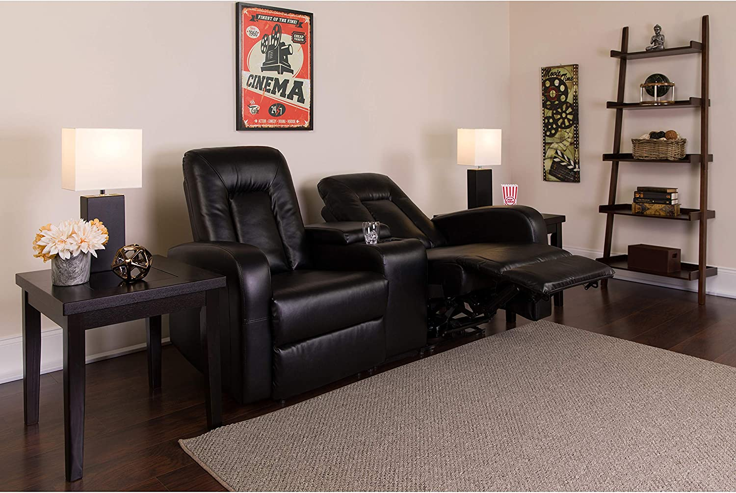 Flash Furniture Eclipse Series Philadelphia Mall 2-Seat Recl Push OFFicial store Motorized Button