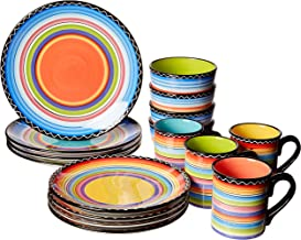 Certified International 43529RM Tequila Sunrise 16 pc Set, Service for 4 Dinnerware, Dishes, Multicolored