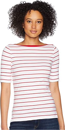 Striped Cotton Boat Neck Top