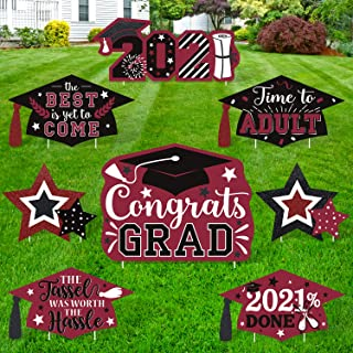 Huray Rayho Graduation Yard Signs with Stakes Congrats Grad Yard Signs Decorations for 2020 Red Graduation Party Lawn Outd...