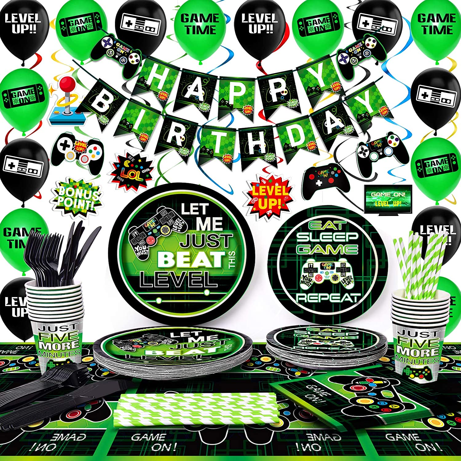 Buy TMCCE Video Game Party Supplies Gaming Party Decoration For ...