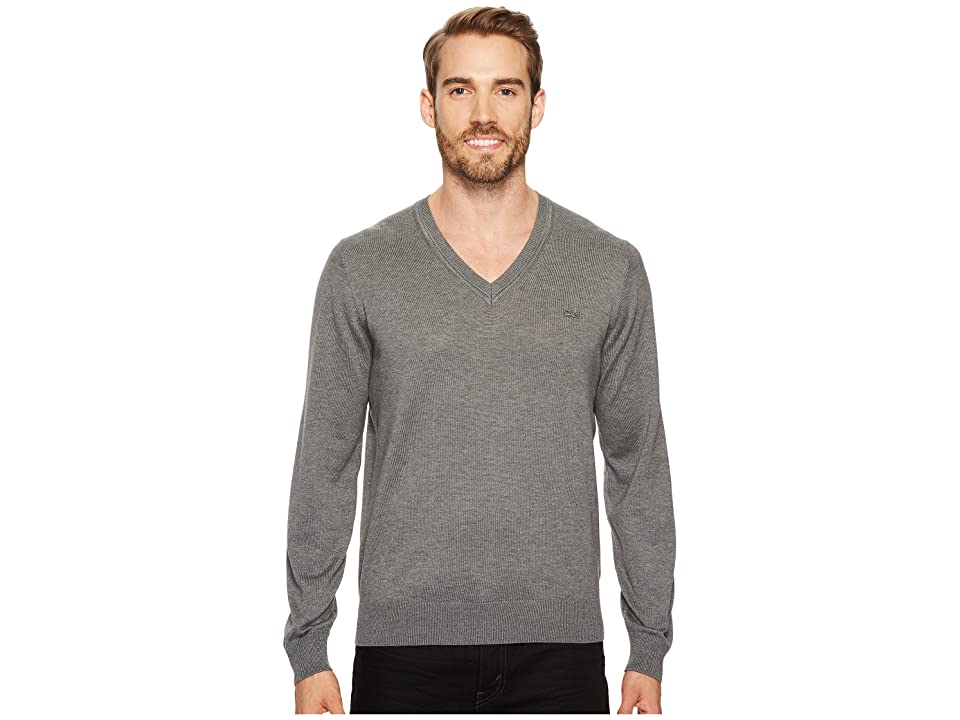 Lacoste Cotton Jersey V-Neck Sweater (Galaxite Chine) Men