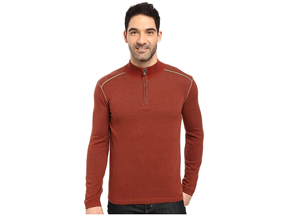 Ecoths Noah Zip Neck Sweater (Henna/Gravel) Men