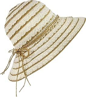 Wasolola Sun Hat Summer Beach Straw Hat Women Girls Floppy Wide Brim Foldable Outdoor UV Protection Bowknot Lace