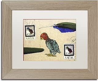 Katin Parrot by Nick Bantock, White Matte, Birch Frame 11x14-Inch