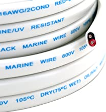 GS Power's 16 Ga (True American Wire Gauge) AWG Tinned Oxygen Free Copper OFC Duplex 16/2 Dual Conductor Red/Black AC Mari...