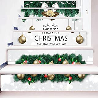 zhiyu&art decor Christmas 3D Stair Risers Stickers Decals-6Pcs/Set Christmas Stair Decals Stickers Removable Staircase Stickers Decals Waterproof Stair Mural Wallpaper for Christmas Decoration