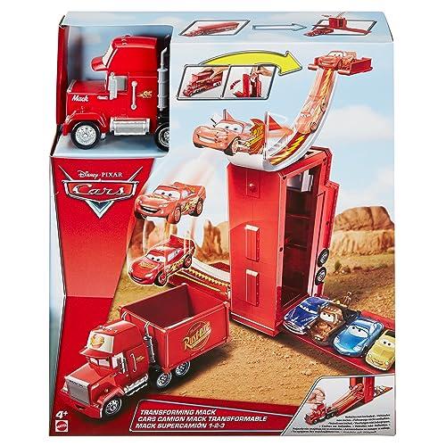 Disney Pixar Cars véhicule Camion Mack Transformable 3 en 1 avec piste et rampe de lancement, jouet pour enfant, DVF39
