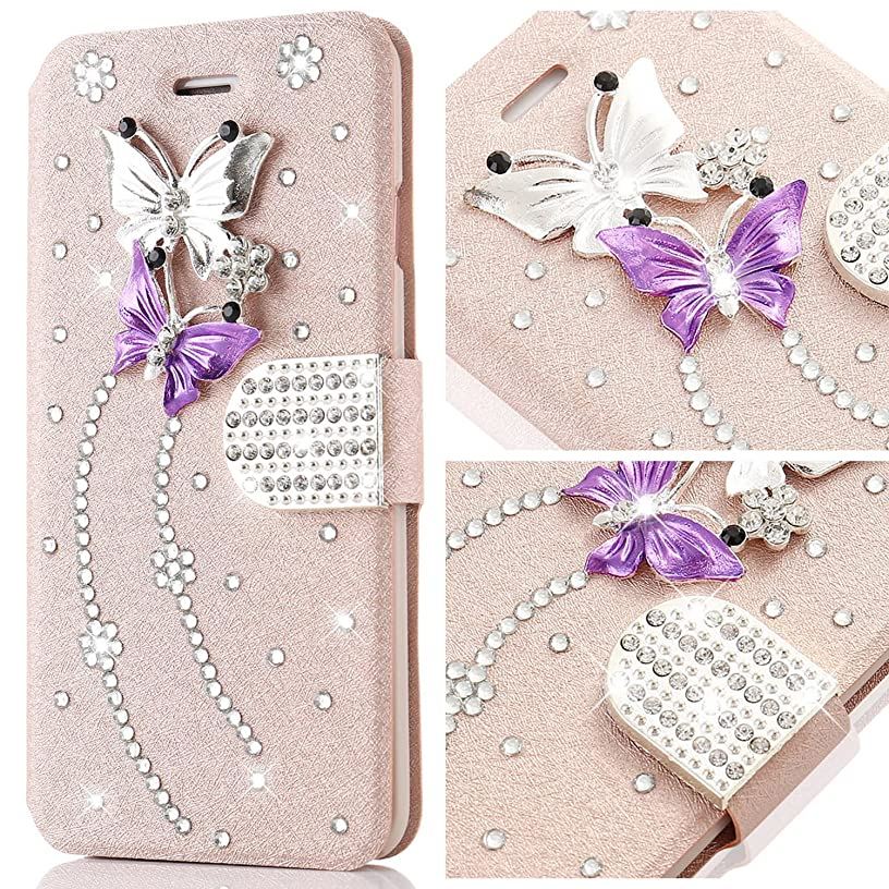 for Galaxy S7 Case,L-FADNUT Bling Jewellery Crystal Rhinestone Flip PU Leather Case,3D Butterfly Magnetic Diamond Buckle with Stand Wallet Card Holder for Samsung Galaxy S7 - Rose Gold