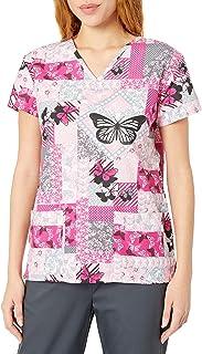 24|7 Comfort Scrubs - Parches de Mariposa para Mujer con Cuello en V, Butterfly Patches, L
