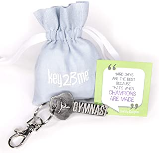 key2Bme Gymnast Key - Gymnastics Keychain & Inspirational Quote - The Cute Cool Fun Unique Small Gymnastic Team Gift Under $10 for Giving Kids Teens Friends Girls Boys Coach Beam Bars Vault