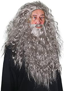 Skeleteen Grey Wig and Beard - Long Gray Wizard Wig and Beard Costume Accessory for Adults and Kids
