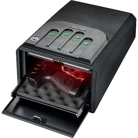GunVault MiniVault Quick Access Compact Gun Safe with Illuminated No-Eyes Digital Keypad, Auto Slide-Out Drawer and LED Illumination (1 Pistol Capacity)